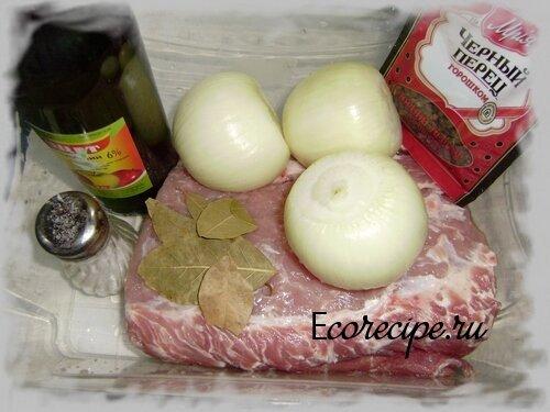Ингредиенты для приготовления шашлыка из свинины