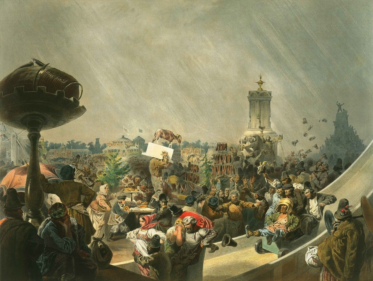 Народный праздник на Ходынском поле в Москве по случаю священного коронования императора Александра II 1856.