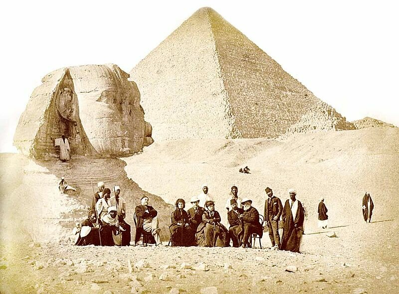 Brazilian Emperor Pedro II in front of the Great Sphinx of Giza, 1871