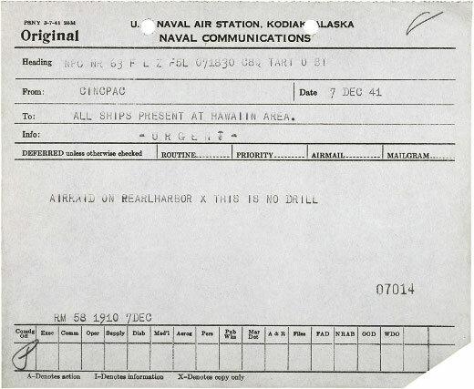 Original telegraph sent during the attacks on Pearl Harbor