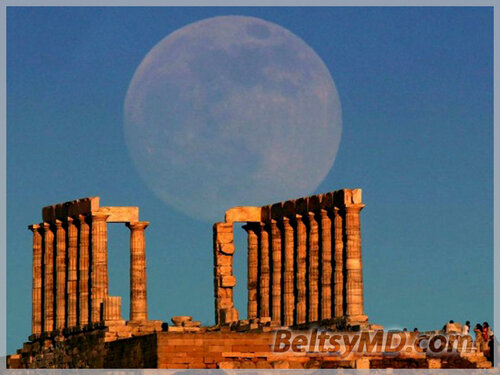 Суперлуние в Греции — Храм Посейдона в Афинах