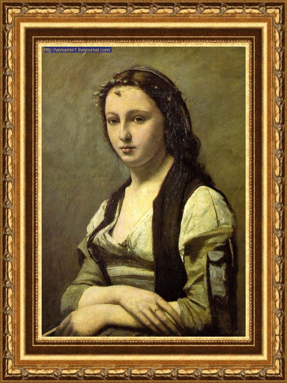 Женщина с жемчужиной (1868-1870) Коро, Жан Батист Камиль)