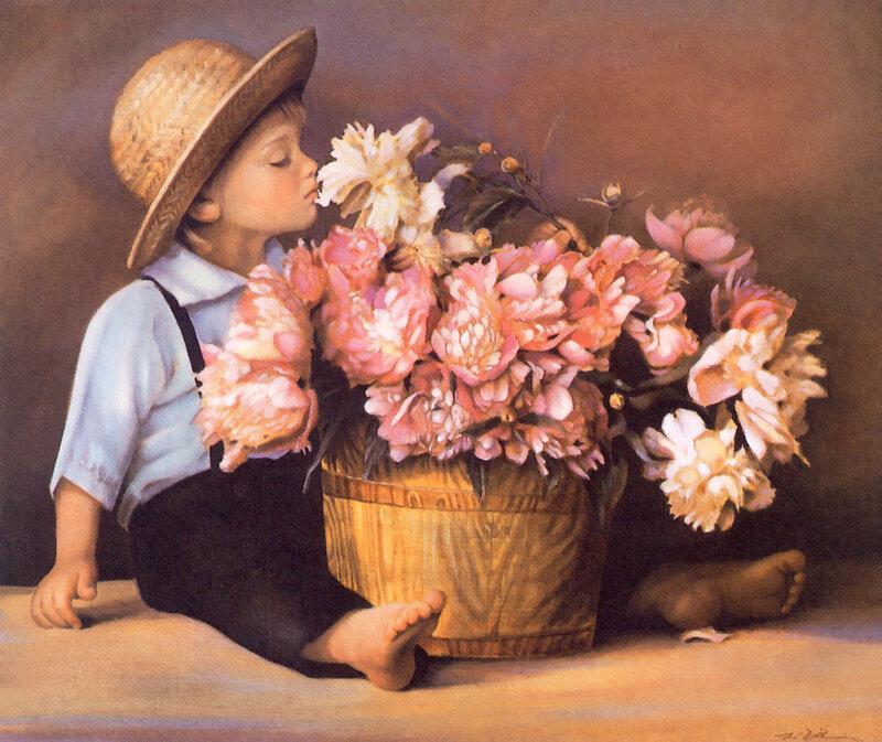 Открытки малыш с цветами