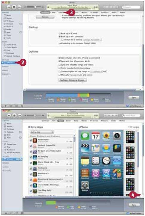 Выберите свой iPhone в списке