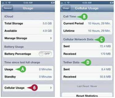 Нажмите «Использование сотовых сетей» (Cellular Usage)