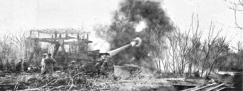 German cannon blasting the Verdun Citadel in preparation for an assault, February 1916