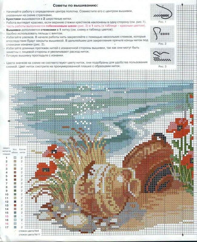 море, вазы, цветы - схема 1
