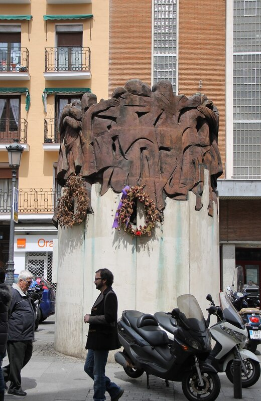 Madrid. The Area Of The Anton Martin. Sculpture El Abrazo (Embrace), dedicated to the victims of the terrorist attack on January 24, 1977