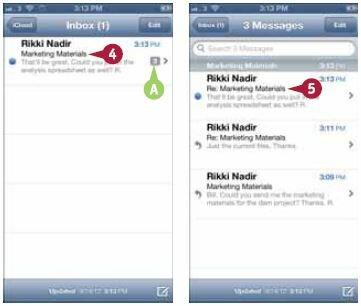Выберите сообщение в цепочке. Откроется экран, показывающий выбранное сообщение