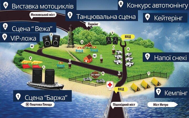 План схема фестиваля Рок Сич на Трухановом острове