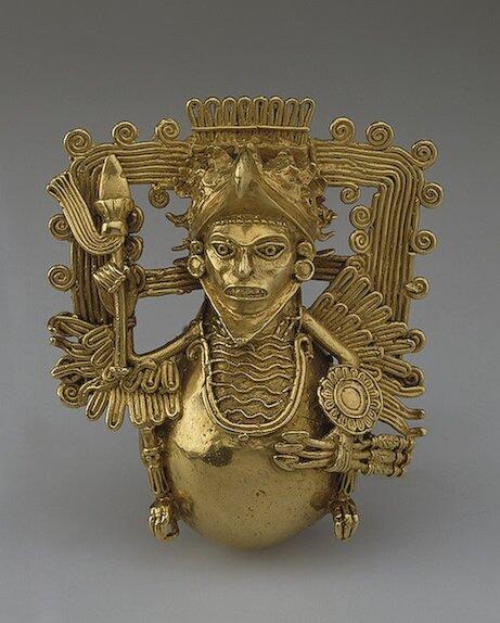 Подвеска-бубенец в форме воина-орла , Конец 15 - начало 16 вв.Ацтеки (Мексика) Золото, Выс. 9 см