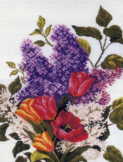 "Артикул: М205 Набор для вышивания  ""Сирень и тюльпаны "" Техника: счётный крест Артикул:М205 Размер:30 х 40 см..."