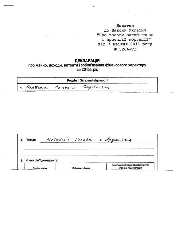 Декларация о доходах Валерия Гнатенко, страница 1