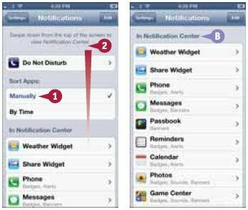 Список содержит приложения, для которых настройками предусмотрено использование Центра уведомлений