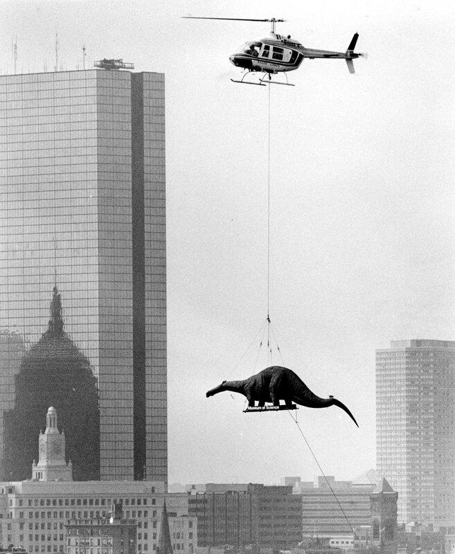 Доставка живого динозавра в Бостонский Научный музей. 1984