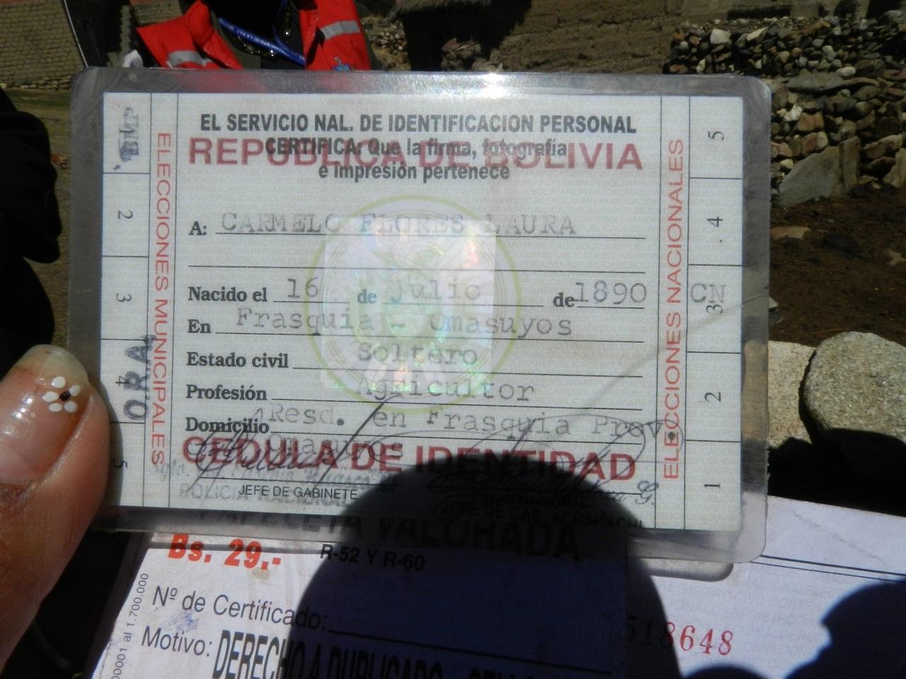 EPA_BOLIVIA LONGEVITY