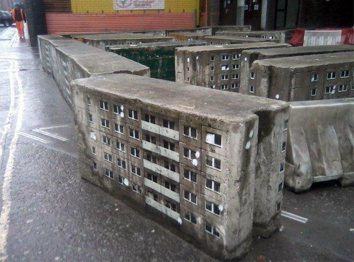 Стрит-арт с элементами городской среды.