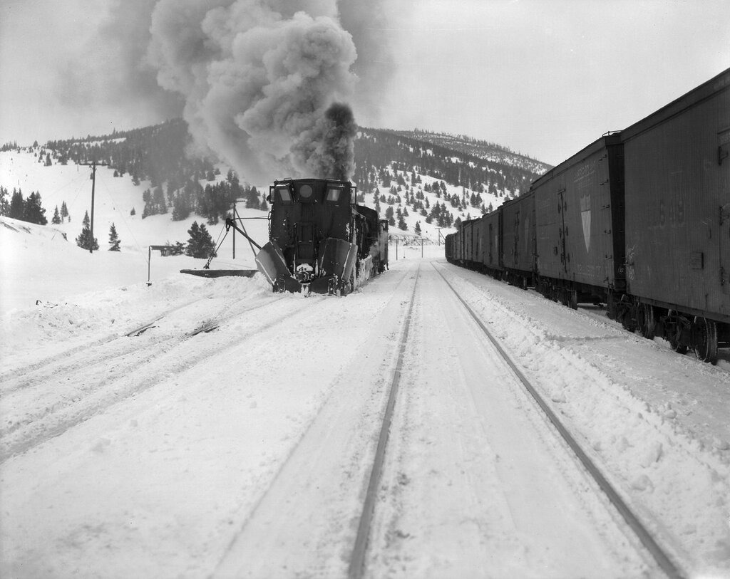 Denver and Rio Grande Western Railroad snowplow 043 clears Tennessee Pass, Lake County, Colorado, between 1922 and 1930