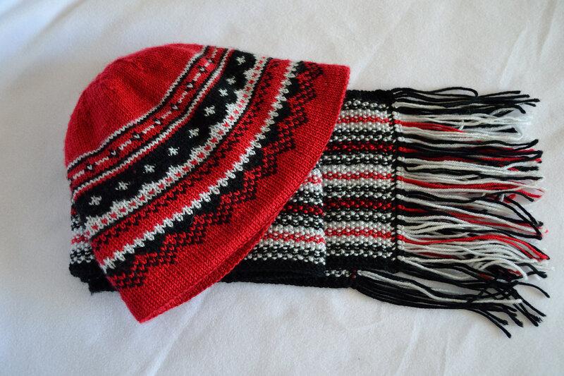 мужская жаккардовая шапка и шарф