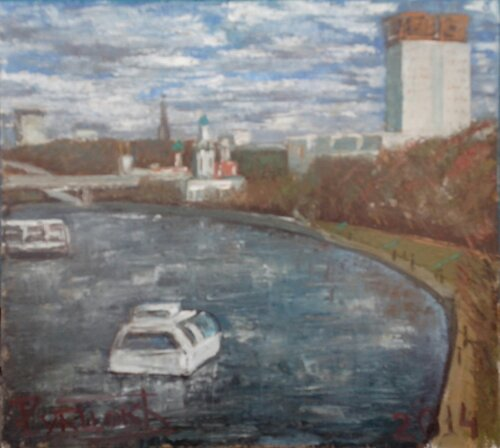 Вид на Шуховскую башню от Воробьёвых гор. х.м. 45х50 см. 2014 г.
