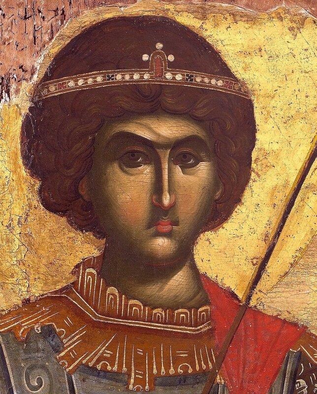 Святой Великомученик Георгий Победоносец. Икона. Византия, XIV век. Монастырь Ватопед на Святой Горе Афон. Фрагмент.
