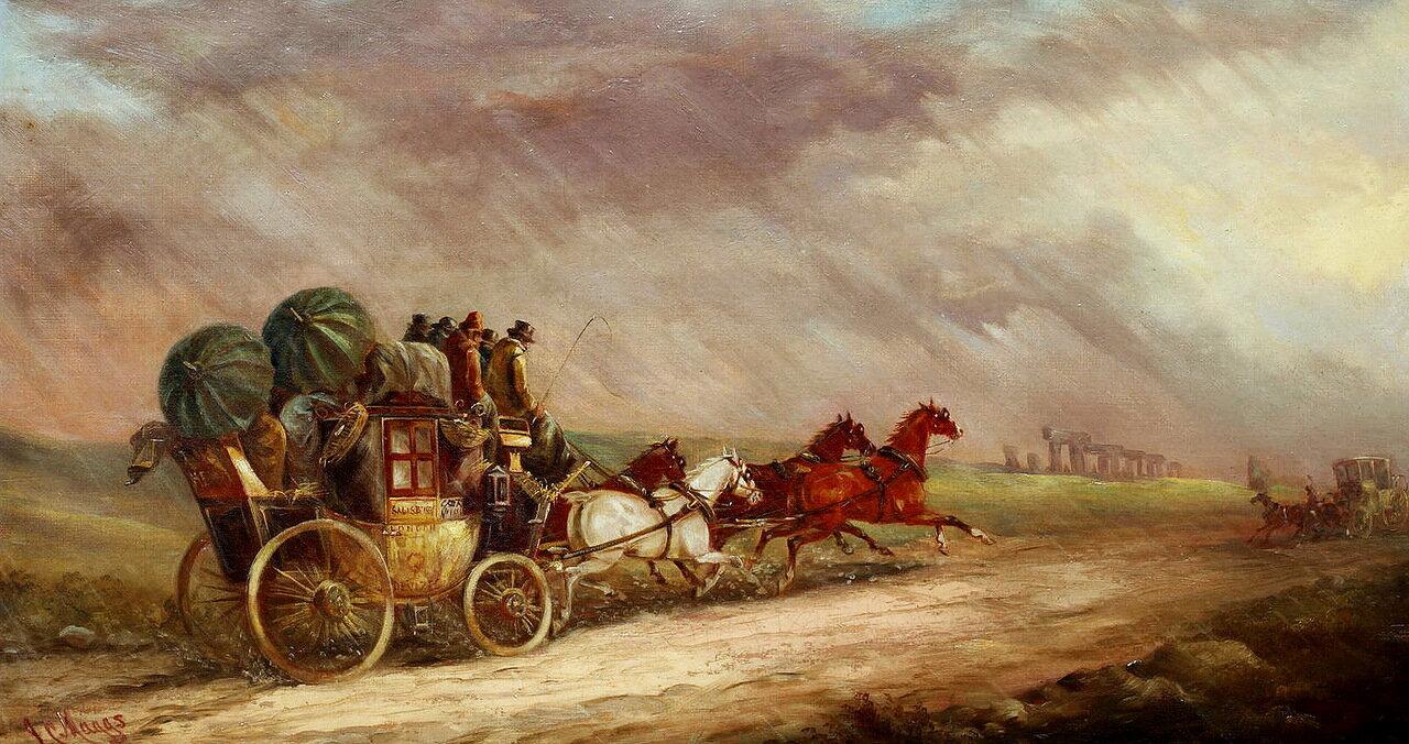John Charles Maggs (British, 1819-1895) - The Salisbury - London mail coach passing Stonehenge