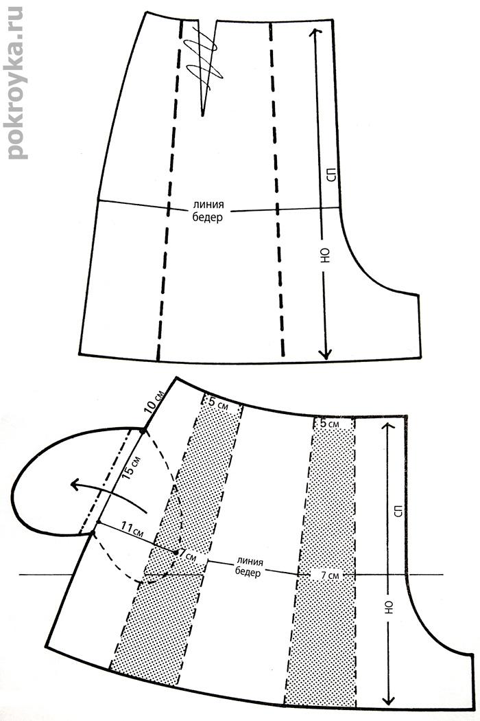Проектирование складки на юбке