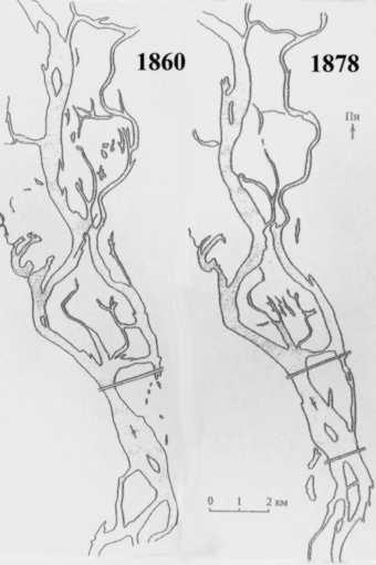 Абриси дніпровських островів у 1860 та 1887 рр. (за В.І. Вишневським) Фото h.ua