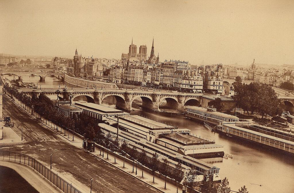 Париж. Общий вид города с Мостом Искусств. 1860