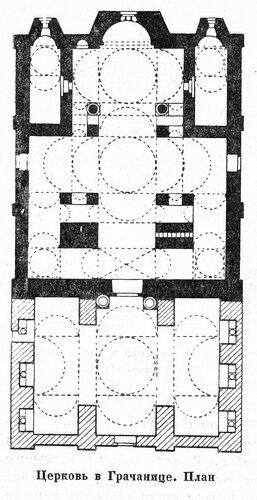 Церковь в Грачанице, план