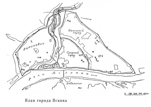 Схема исторического центра Пскова