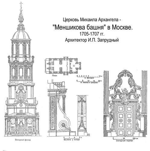 Церковь Михаила Архангела Меншикова башня в Москве, чертежи