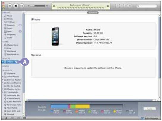 Если iTunes не отображает окон настройки iPhone, нажмите название своего iPhone в списке устройств