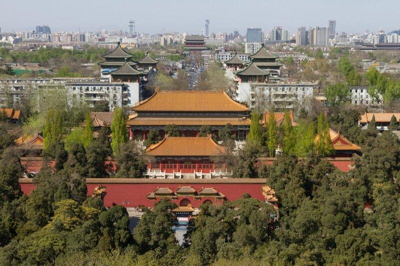 Вид в сторону Мемориальной арки, Дворца императорского долголетия и Барабанной башни