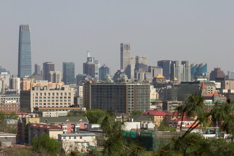 Вид на кварталы Пекина, Парк Цзиншань, Пекин
