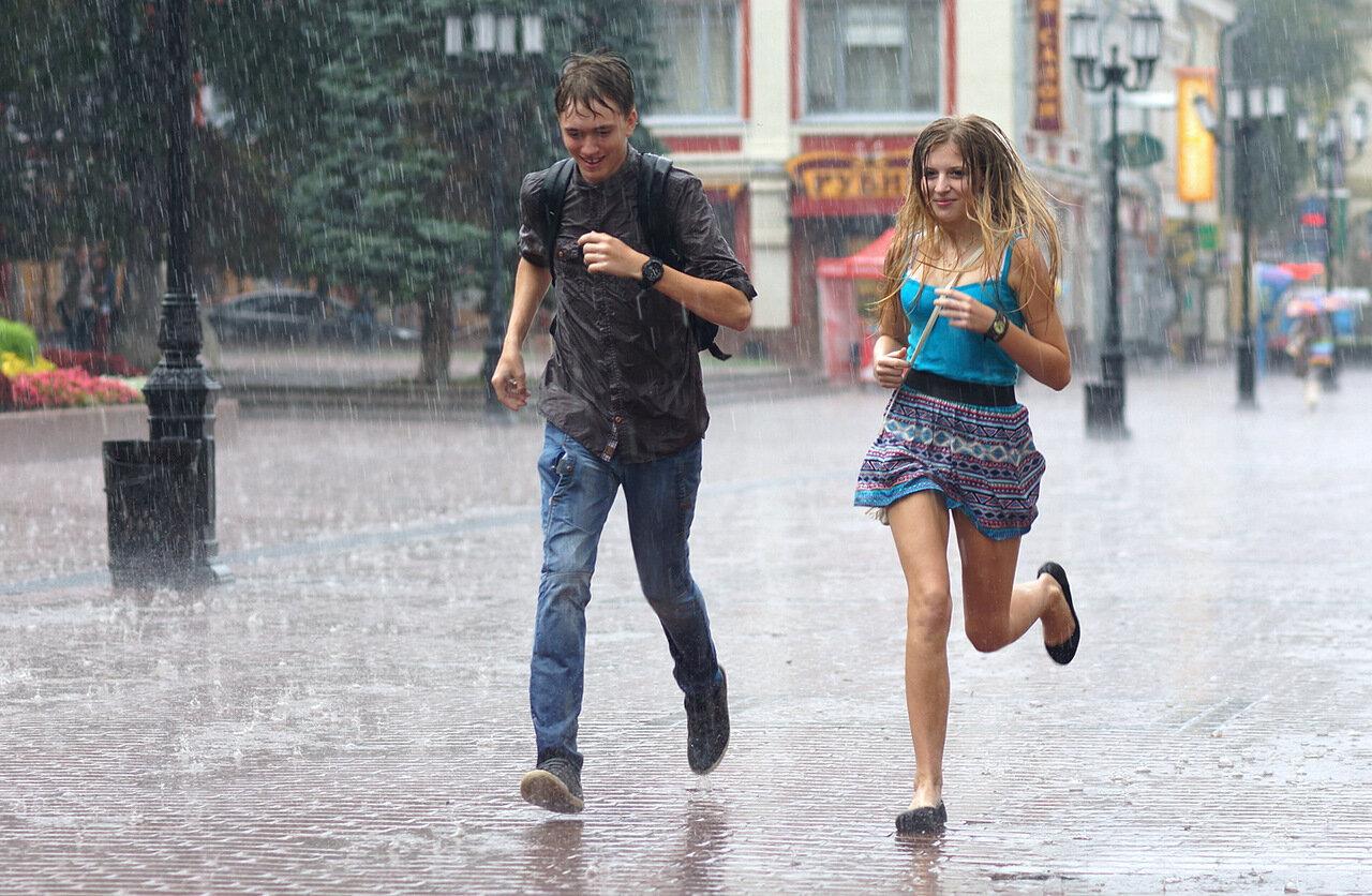 убежать от дождя