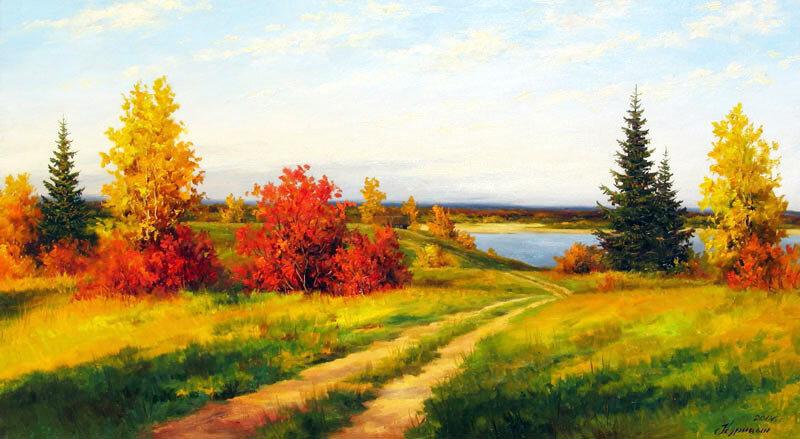 Осень в деревне картинка