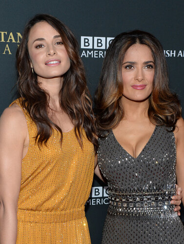 BEVERLY HILLS, CA - NOVEMBER 09: Actresses Mia Maestro (L) and Salma Hayek with Stylebop.com attend the 2013 BAFTA LA Jaguar Britannia Awards presented by BBC America at The Beverly Hilton Hotel on November 9, 2013 in Beverly Hills, California. (Photo by