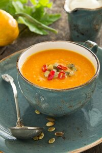 Vegetables (pumpkin, carrot) cream soup.