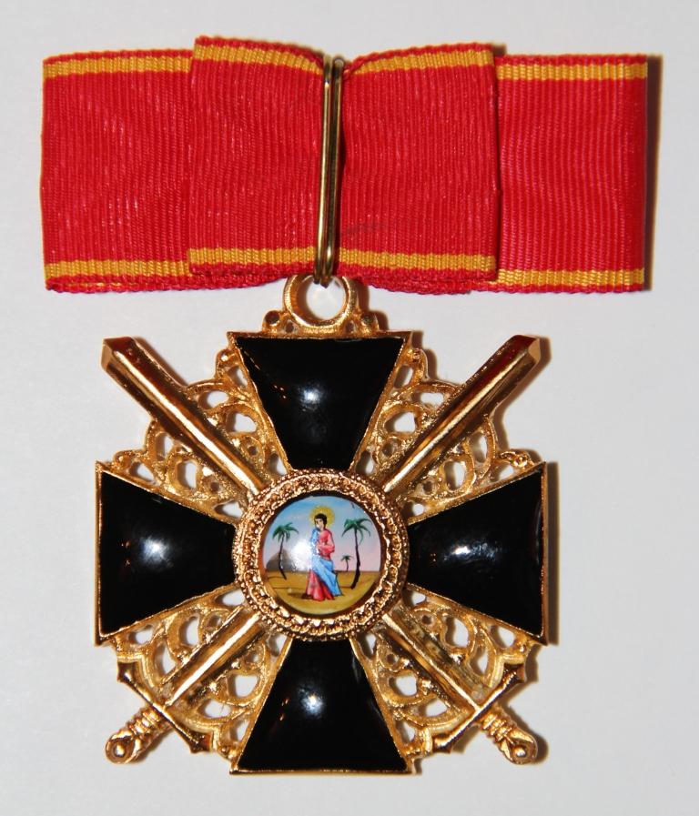 Крест орд.Св.Анны 1 ст.(с мечами,чёрной эмали)
