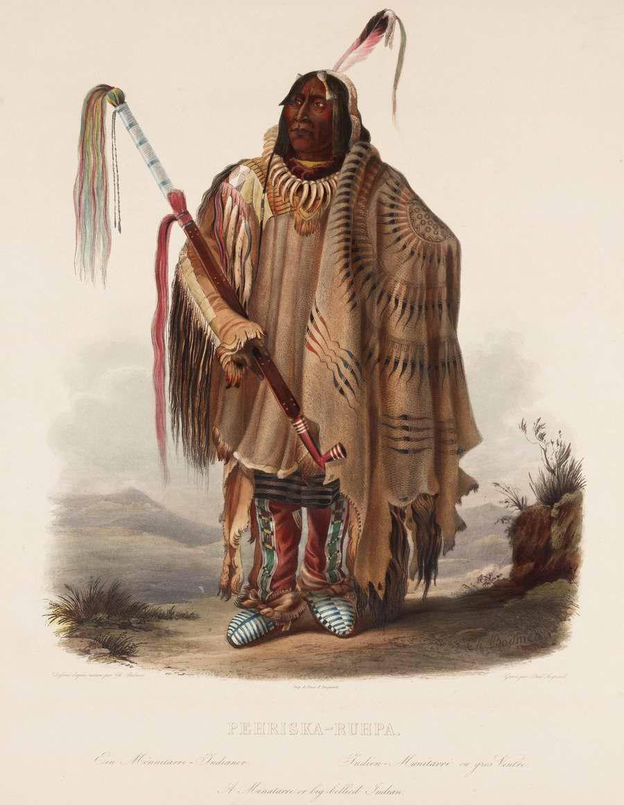 Пожилой индеец из племени Minatarre - Karl Bodmer