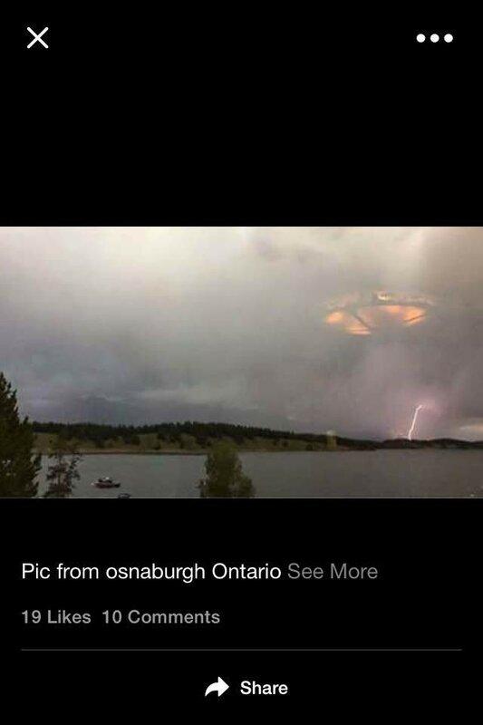 Огромный НЛО над Оснабург, провинция Онтарио, Канада 2 августа 2015 года