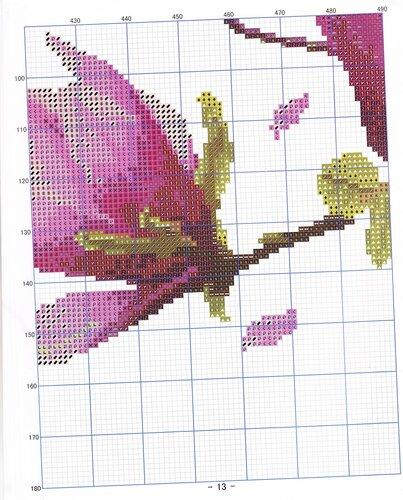 Магнолия схема вышивки триптих 97