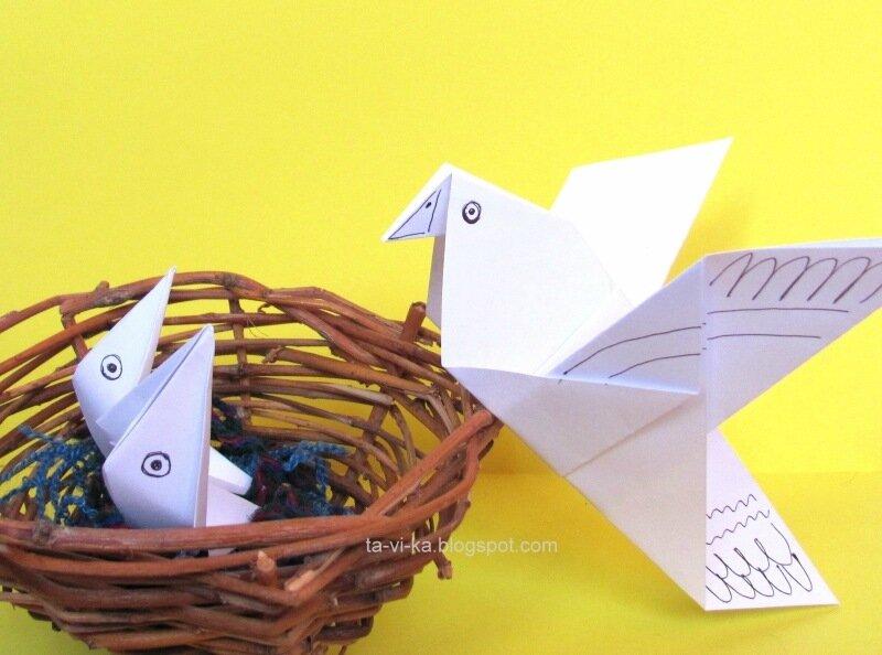 голубь и птенцы - оригами для детей