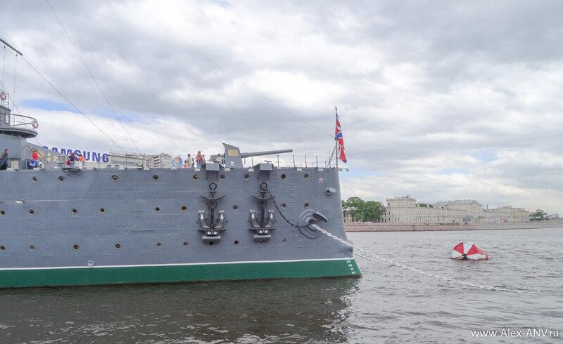 Нос крейсера Аврора, на знаменитом орудии закреплена памятная табличка.