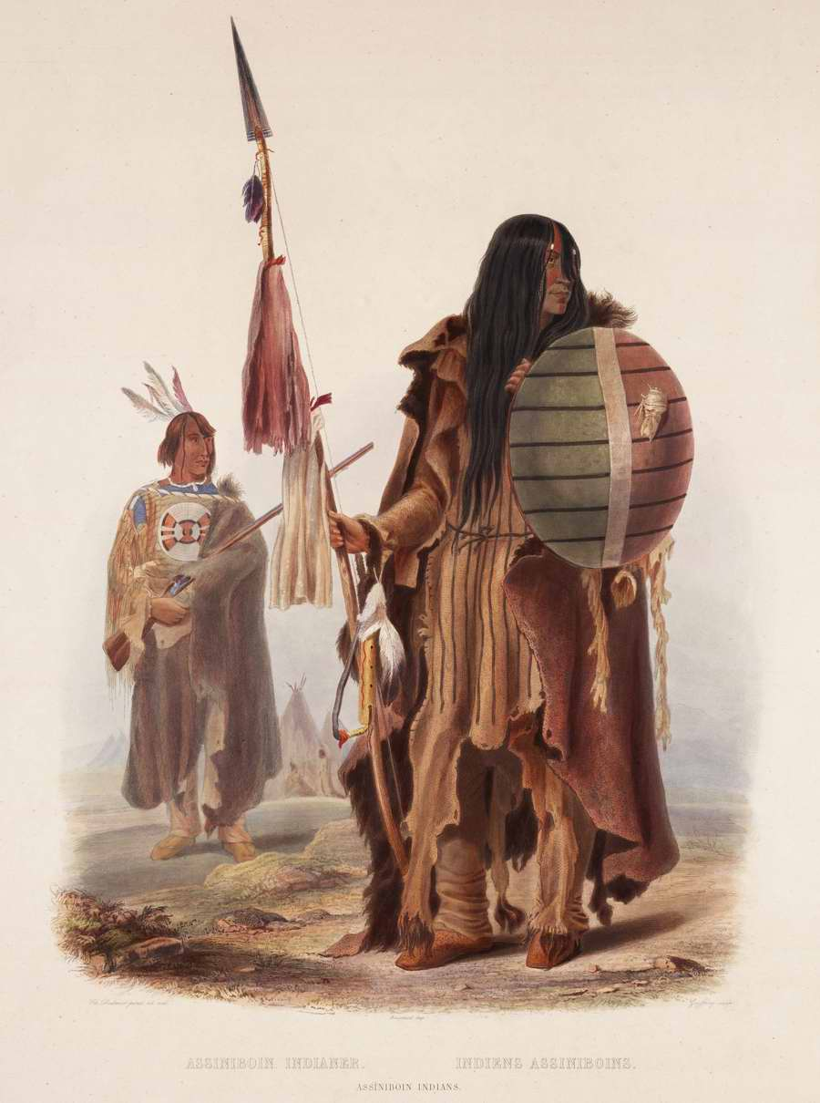 Индейцы из племени ассинибойнов - Karl Bodmer