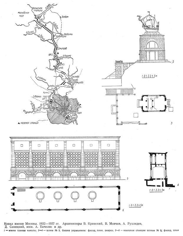 схем трассы канала им. Москвы, шлюз 3, башня управления, насосная станция, чертежи