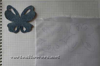 Бабочка из джинсовой ткани. Выкройка (схема) бабочки.
