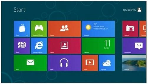 Рис. 2. Интерфейс Windows 8