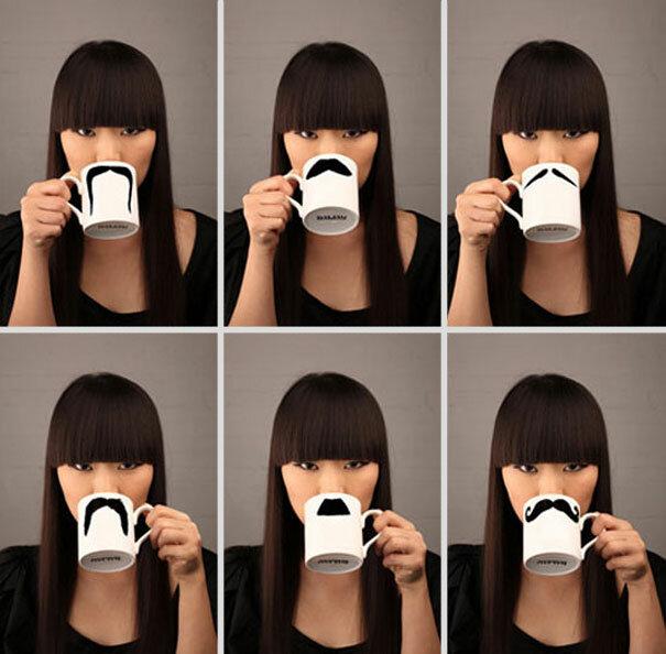 Устройте маскарад прямо во время рабочего чаепития с усатыми чашками от дизанера Petter Bruegger